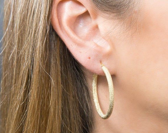 Gold Hoop Earrings, Real Gold 14k Earrings, Simple Hoop Earrings, Dangle Hoop Earrings, Clip on Hoops, Matte gold Hoop Earrings