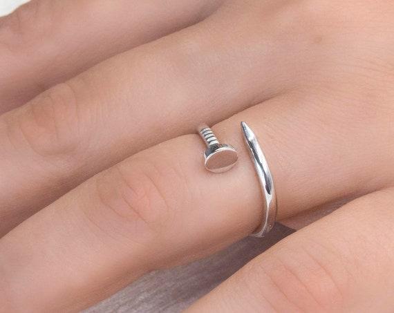 Gold Nail Ring, Gold Open Ring, Silver Nail Ring, Spiral Ring, Wrap Around Ring, Bypass Gold Ring, Dainty Nail 950 Silver Ring