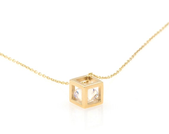 Cube Necklace, Geometry Necklace, 3d Cube Charm, Solid Gold Cube Necklace, Cube with cz Charm, Gold 14k Necklace, Gold Gemstone Necklace