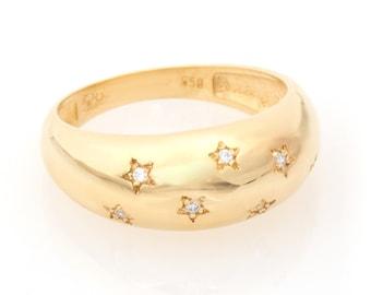 Diamond Starburst Ring/ Diamond North Star Ring/ 14k Gold Dome Ring / Dome Ring Gold / Statement Ring / 14k Gold Ring / Bold Dome Ring