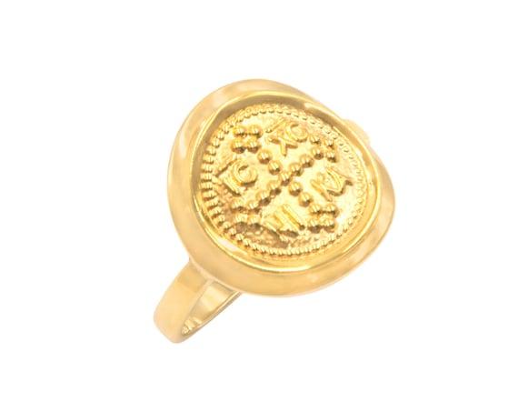 Gold Coin Ring, Christian Ring, Greek Christian Ring, Solid Gold Coin Ring, Byzantine Cross Ring, Orthodox Gold Coin Ring, 14K GoldRing