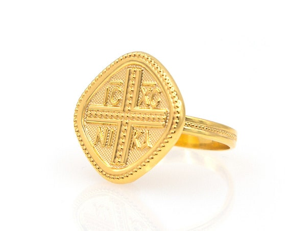 Gold Coin Ring, Christian Ring, Greek Christian Ring, Solid Gold Square Ring, Byzantine Cross Ring, Orthodox Gold Coin Ring, 14K GoldRing
