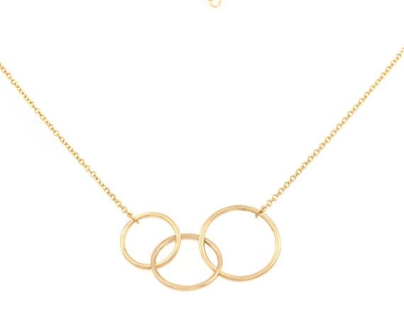 Gold Linked Rings, Linked Rings Necklace, Triple Circle Charm, Karma Necklace, Four Circle Necklace, Interlocking Circles, Family Necklace