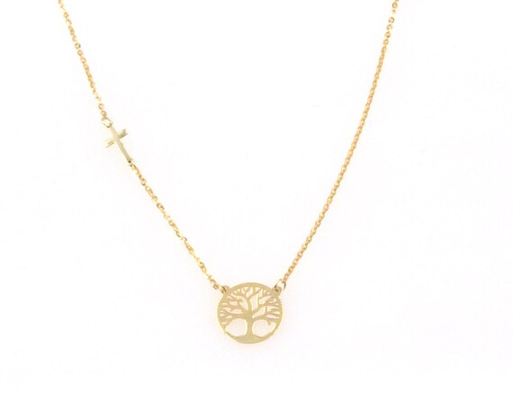 Tree of life Necklace, Family Necklace, Solid Gold Necklace, Coin Necklace, Family Tree Necklace, Tree of Life Pendant, Mother Necklace