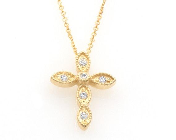 Diamond Cross Necklace / 14k Gold Diamond Cross / 14k Vintage Diamond Cross / Gold Cross / Communion Gift / Confirmation Gift / Baptism Gift