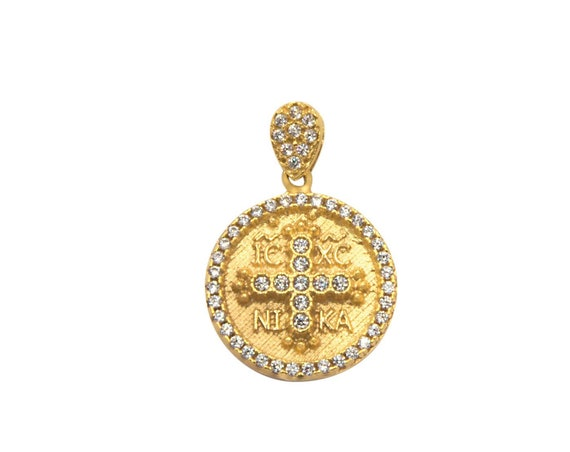 Christian Pendant, Greek Christian Charm, Coin Charm, Byzantine Cross pendant, Orthodox gold coin pendant, Gold Christian Necklace