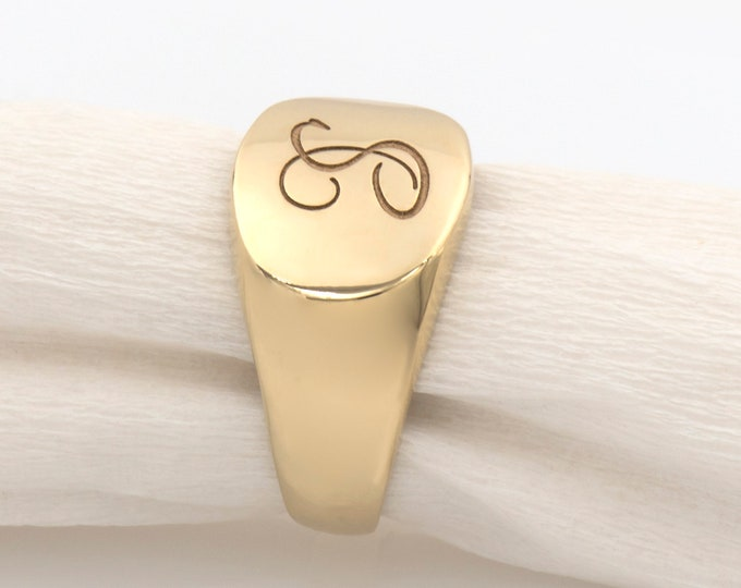 Gold Oval Monogram Signet Ring, Initial Signet Ring, 14k Gold Pinky Ring, Engraved Signet Ring, Oval Pinky Ring, Personalized Gold Ring