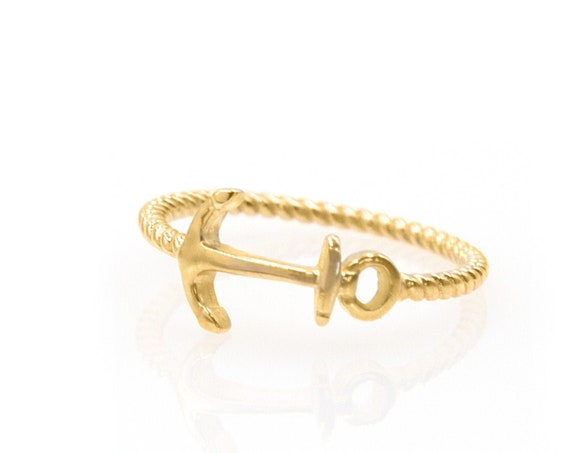 Solid 14k Gold Ring * Anchor Ring * Dainty Twist Ring * Thin Beaded Ring * Gold Anchor * Stackable Twist Ring * Anchor Signet Ring * Ring