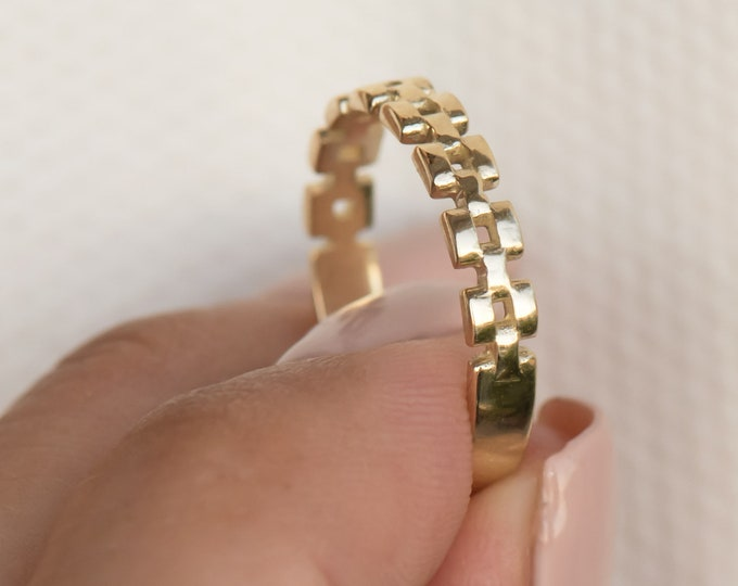 Solid 14kGold Chain Ring * Chain Ring * Chunky Chain Ring * Curb Chain Ring * Stackable Chain Ring * Gold Mens Ring * 3 mm Gold 14k Ring