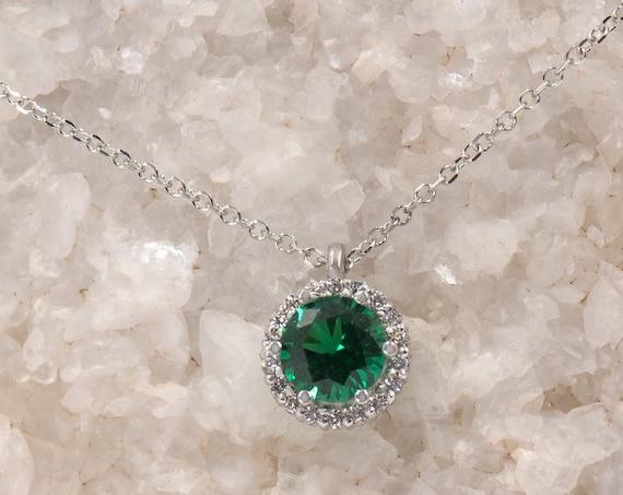 Round Halo Pendant, Coloured Pendant, Gemstone Pendant Gold, Gold Halo Charm, Birthstone charm, Coloured Cz, Halo Pendant, Gemstone Jewelry