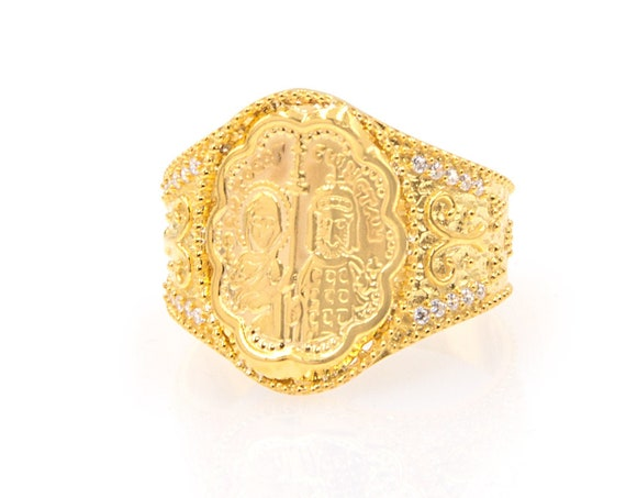 Gold Coin Ring, Christian Ring, Greek Christian Ring, Solid Gold Oval Ring, Byzantine Cross Ring, Orthodox Gold Coin Ring, 14K GoldRing