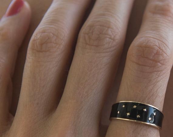 Solid 14k Gold Ring * Enamel Ring * Dainty Enamel Fall Ring * Flat Gold Ring * Stackable Enamel Ring * Black Enamel Ring * Ring with Stars