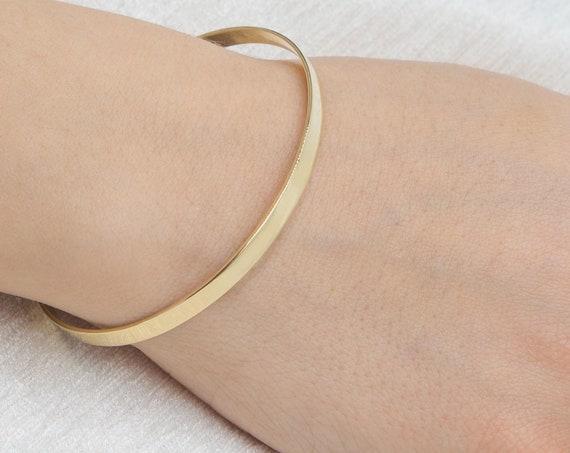 Plain Solid Gold Bracelet, Gold Bangle Bracelet,Solid Gold Bangle, Open Gold Cuff, Open Wide Bracelet , Love Bracelet, Engraved Bracelet, 4m