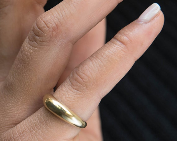 14k Gold Dome Ring / Dome Ring Gold / Statement Ring / Crescent Dome Ring / Chunky Ring / Minimal Ring / Statement Ring / Classic Bold Ring