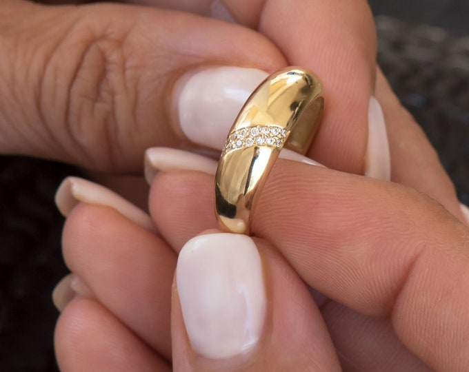 Solid Gold Dome Ring /Diamond Dome Ring Gold / Diamond Ring / Gold Ring / 14k Gold Ring / Large Dome Ring for Women / Gold 14k Pinky Ring