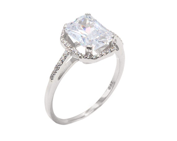 2.5 CT Emerald cut Halo Engagement 14k Rose & White Gold, Octagon Simulated Diamond, Emerald Cut White Cz Ring, Gold Halo Octagon cz Ring
