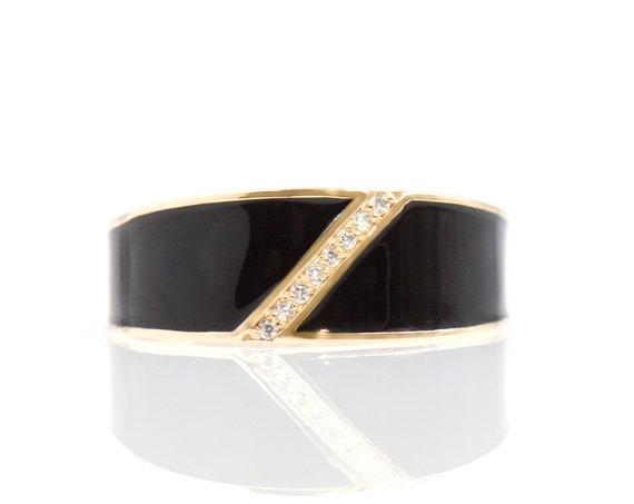 Solid 14k Gold Ring * Enamel Ring * Dainty Enamel Fall Ring * Flat Gold Ring * Stackable Enamel Ring * Black Enamel Ring * Ring with Ziconia
