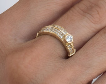 Half Eternity Gemstone Ring, 14k Curved Gold Ring, Gold Wedding Ring, Gold Gemstone Ring, Half Eternity Band, Engagement Ring, Curved Ring