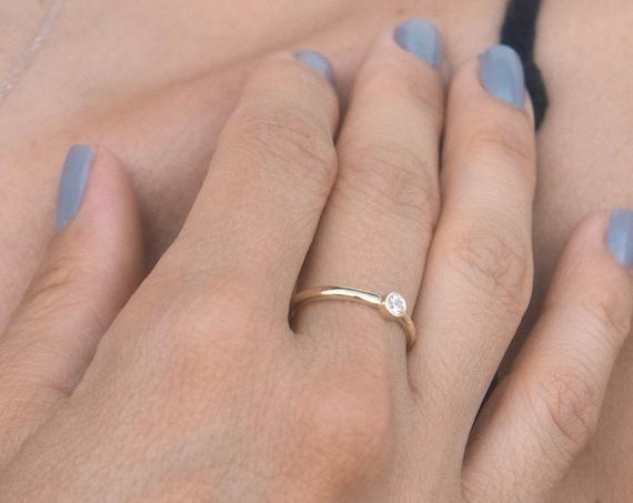 Bezel Ring, Diamond Ring, White Diamond Ring, Diamond Bezel Ring, Gold Stacking Ring, Thin Gold Ring, Diamond 0.10ct, Gold Bezel Ring
