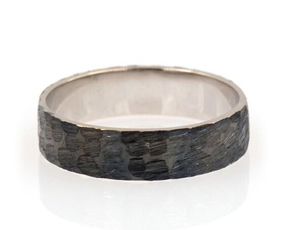 Gold Wedding Band, Hammered Flat Band, Wedding Flat Band, Mens Wedding Band, 14 karats Band Ring, Black Gold Ring, Solid Gold Band