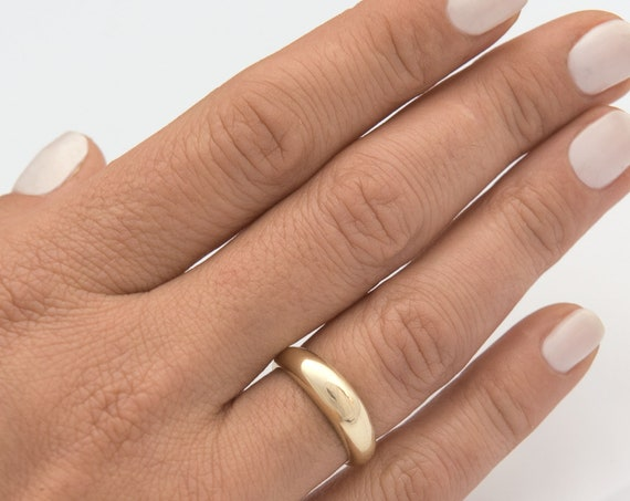 Solid Gold Dome Ring / Dome Ring Gold / Statement Ring / Crescent Dome Ring / Chunky Ring / Minimal Ring / Statement Ring  Classic Bold Ring