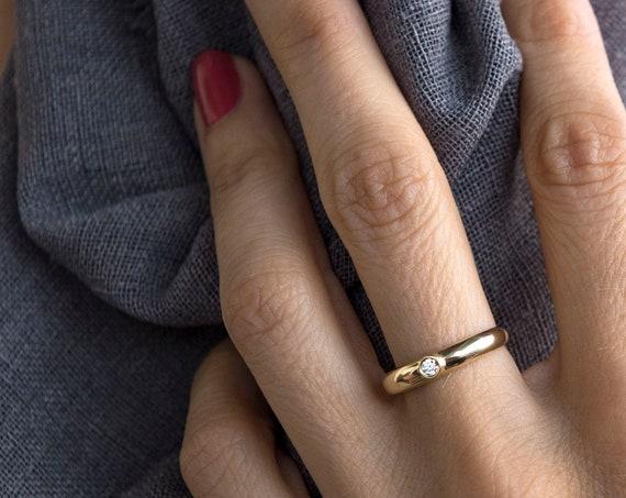 14k Dome Diamond Ring / Bezel Setting Diamond Solitaire Ring /  White Diamond Pinky Ring / Diamond Stacking Ring / Ring with Black Diamond