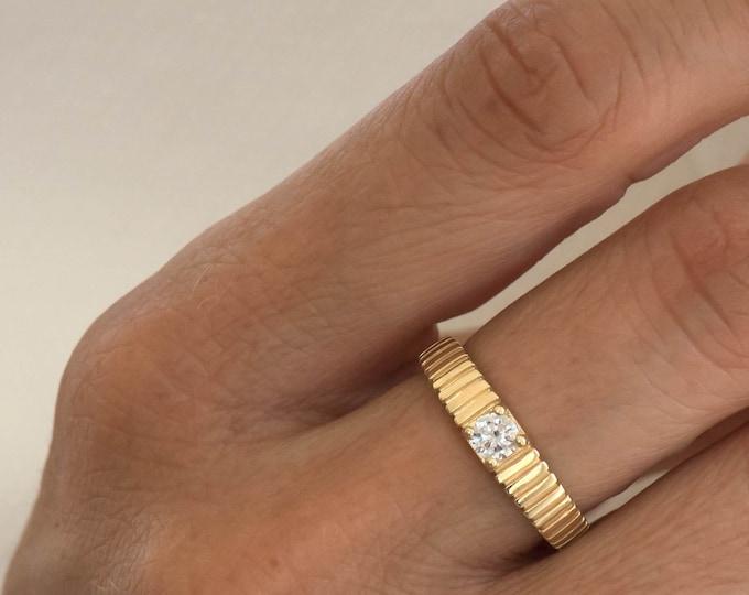 Diamond Solitaire Ring, Diamond Ribbed Ring, Engagement Ring, Wedding Ring, Genuine  Diamond 0.30ct, Promise Ring, Classic Diamond Ring
