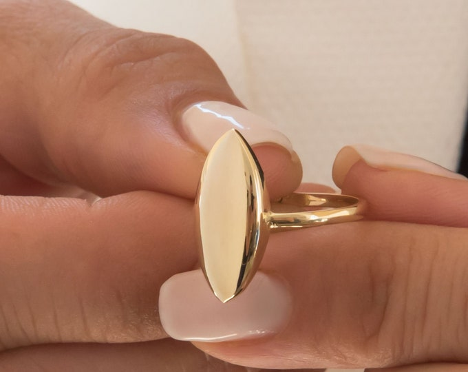 Gold Pointed Ring, Gold Ellipse Ring, Gemstone Ring, Marquise shaped Ring, Marquise Cz Ring, 14k Solid Gold Ring, Sharp Ring, Edged Ring