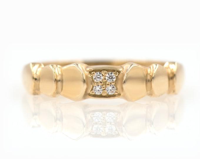 Diamond Wrapped Ring, Gold Herringbone Ring, Gold Leaves Ring, 14k gold Herringbone ring, Wrapped Gold Ring, Diamond Ring, Bypass ring
