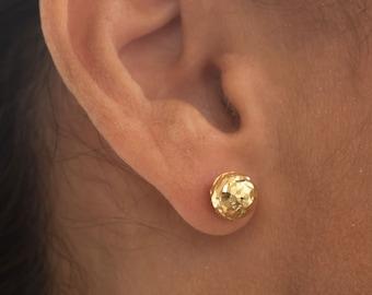Ball Earrings, Gold Ball Earrings , Gold Stud Earrings, Ball Stud Earrings, Hammered Earrings, Gold Dot Earrings, 14k Earrings, Post Earring