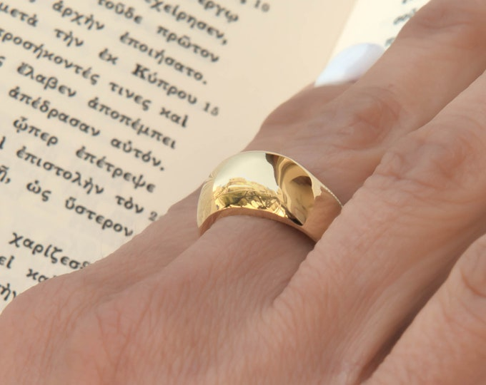 14k Gold Dome Ring / Dome Ring Gold / Statement Ring / Gold Ring / 14k Gold Ring / Large Dome Ring for Women / Solid Gold 14k Pinky Ring