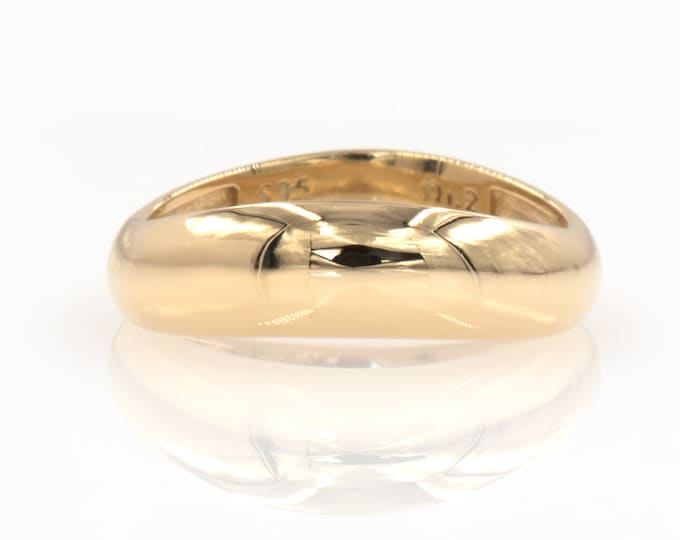 14k Gold Dome Ring / Wavy Dome Ring Gold / Gold Curved Ring / 14k Solid Gold Ring / Large Dome Ring for Women / Solid Gold 14k Chunky Ring