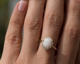 White Opal Ring, Gold Opal Ring, Fire Opal Ring, Oval Opal ring, Australian Opal Ring, Birthstone Ring, Opal Engagement Ring, Big Halo Ring