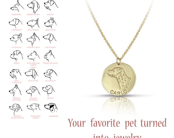 Solid Gold Custom Pet Portrait Dog Necklace Pet Loss Gift for Mom Gold Dog Mom Memorial Pet Jewelry Pet Gift Dog Pet Gift Personalized Dog