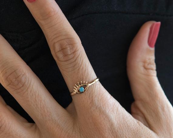Evil Eye Gold Ring / 14k Gold Gemstone Evil Eye Ring / Good Luck Ring / Dainty Minimal Ring / Boho Jewelry / Gold 14k Evil Eye Ring