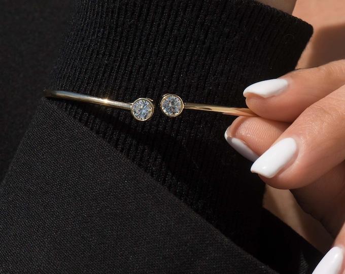 Gold Bangle Gemstone Bracelet, 14k Real Gold Bangle, Jewelry Gift for Her, Real Gold Bangle, 2 mm Real Gold Bangle, Stacking Bezel Bracelet