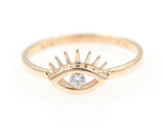 Evil Eye Diamond Ring / 14k Gold Diamond Evil Eye Ring / Good Luck Ring / Dainty Minimal Ring / Boho Jewelry / Gold 14k Evil Eye Ring