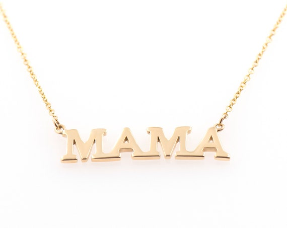 Mothers Necklace, Mom Necklace, Gold Mama Necklace, Mommy Necklace, Mama with Evil-eye, Mothers Day Gift, Solid Gold Mama, Mama Necklace