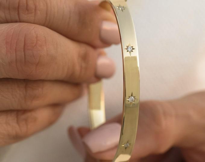 Diamond Bracelet, Gold Hinged Bracelet, North Star Bracelet, 14k Real Gold Oval Bangle, Wide Gold Bracelet, 6mm Hinged Bangle, Sturdy Bangle