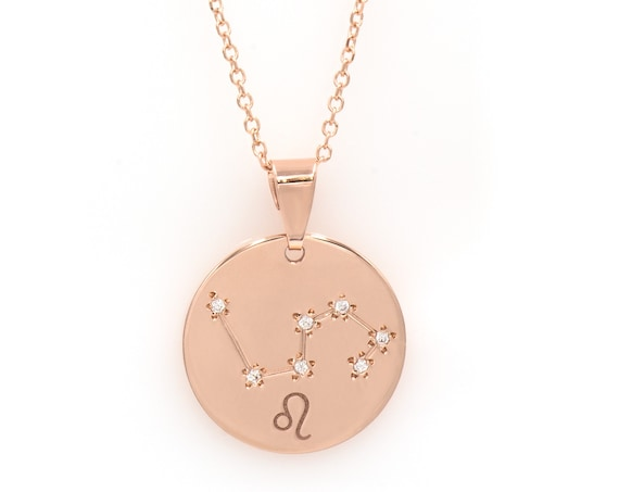 Solid Gold Medallion Necklace, 14kt Gold Constellation Necklace, Horoscope Astrology Necklace, Gold Pendant Necklace Zodiac Necklace