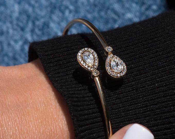 Gold Bangle Gemstone Bracelet, 14k Real Gold Bangle, Jewelry Gift for Her, Real Gold Bangle, 2 mm Real Gold Bangle, Stacking Bracelet