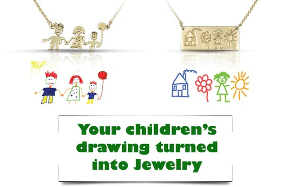Actual Kid's Drawing Necklace - Solid Gold Children Artwork Necklace- Gold Mother's Jewelry- Gifts for Mom - Family necklace - Kids Art Gift