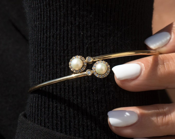 Gold Bangle Pearl Bracelet, 14k Real Gold Bangle, Jewelry Gift for Her, Real Gold Bangle, 2 mm Real Gold Bangle, Stacking Bracelet