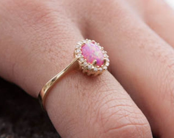 Opal Ring, Gold Opal Ring, Fire Opal Ring, Oval Opal ring, Australian Opal Ring, Pink Opal Ring, Opal Engagement Ring, Opal Halo Ring