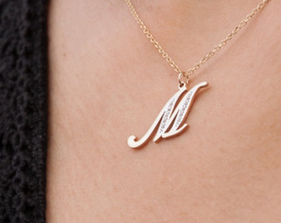 Gold Monogram, Initial Letter, Monogram Necklace, Solid Gold Monogram, Personalized Letter, Micro Pave Monogram