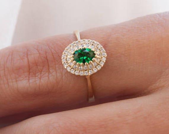 Oval Halo Ring, Gold Engagement Ring, Birthstone Ring, Coloured Gem Rind, Halo Engagement Ring, Cubic Zirconia Ring, Gemstones Gold Ring