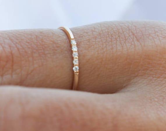 Diamond Wedding Ring, Diamond Ring, Diamond Engagement ring, Thin Diamond Ring, 1 mm Ring, Promise Ring, Wedding Band, Gold Stacking Ring