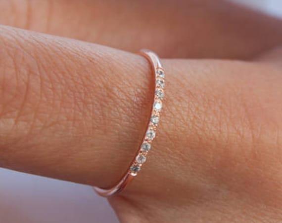 Diamond Band, Diamond Ring, Diamond Wedding Band, Engagement Ring, Thin Wedding Band, Real Diamond Ring, 9 Diamonds Ring, Diamond Wedding