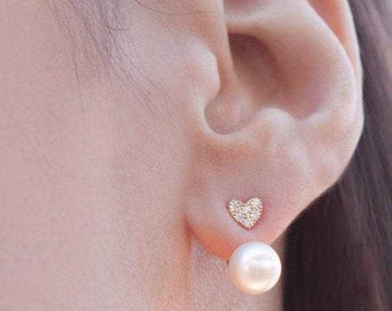 Ear Jacket Earrings, Gold Ear Jacket, Pearl Earrings, Double Sided Earring, Gold Earrings, Two Way Earrings, Front Back Earring, Ear Jacket