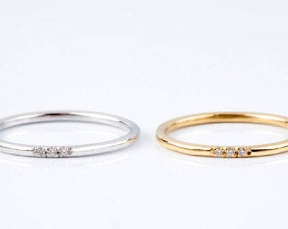 Diamond Band, Diamond Wedding Band, Engagement Ring, Ring with Diamonds, Thin Wedding Ring, Diamond Ring,  3 Diamonds Band, 1.5 mm Ring